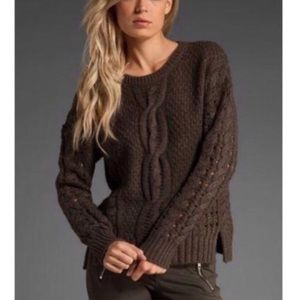 VINCE Crop Openwork Cable Knit Sweater Yak Wool M